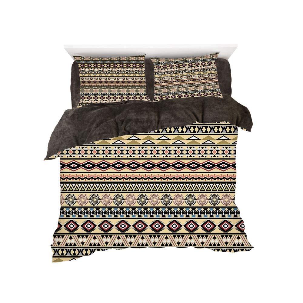iPrint フランネル布団カバー4点セット ベッドリネン 冬休み ネイティブアメリカン プリミティブスタイル アステカ 民族 ストライプデザイン アンティーク マヤパターン ブラック ブルー コーラル bed width 4ft(120cm) BotingFLR_hei_13929_twin 120 B07L1X1CQP カラー9 bed width 4ft(120cm)