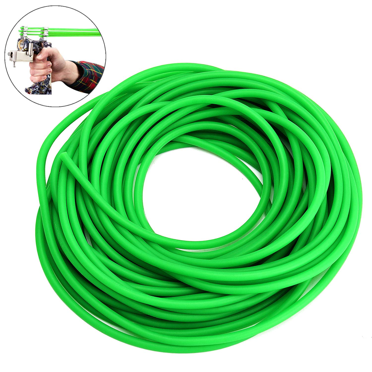 TOBWOLF 32.8FT Rubber Latex Tube, 1/5'' OD, 2/25'' ID Slingshot Catapult Speargun Band, Strong & Elastic, Profesional Surgical Tube for Outdoor Hunting, Physical Therapy - Fluorescent Green by TOBWOLF