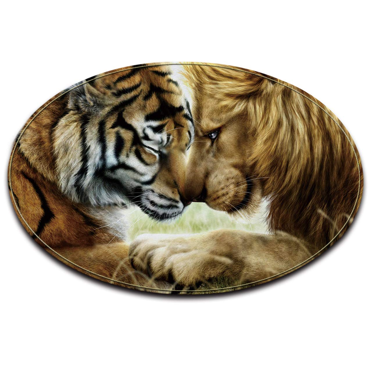 LB Animal Lion Tigre/_Anti-d/érapant Lavable en Machine Espace Rond Tapis Salon Chambre /à Coucher Salle de Bain Cuisine Doux Tapis Tapis de Sol D/écoration int/érieure 80x80 CM