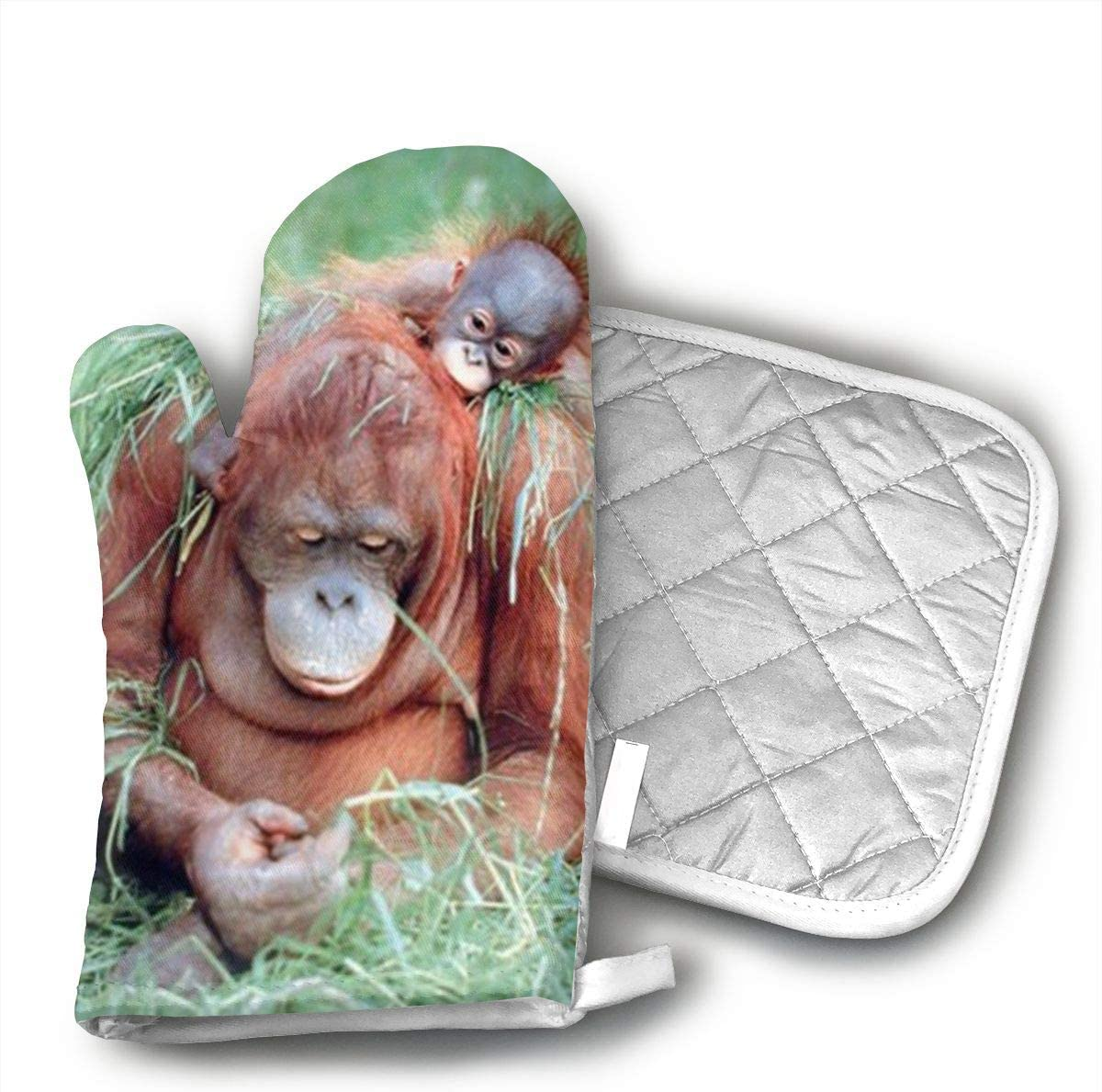 Klasl5 Orangutan and Baby Wildlife Animal Nature Heat Resistant Kitchen Oven Mitt with Non-Slip Printed,for BBQ Cooking Baking, Grilling, Barbecue,Microwave, Machine Washable.