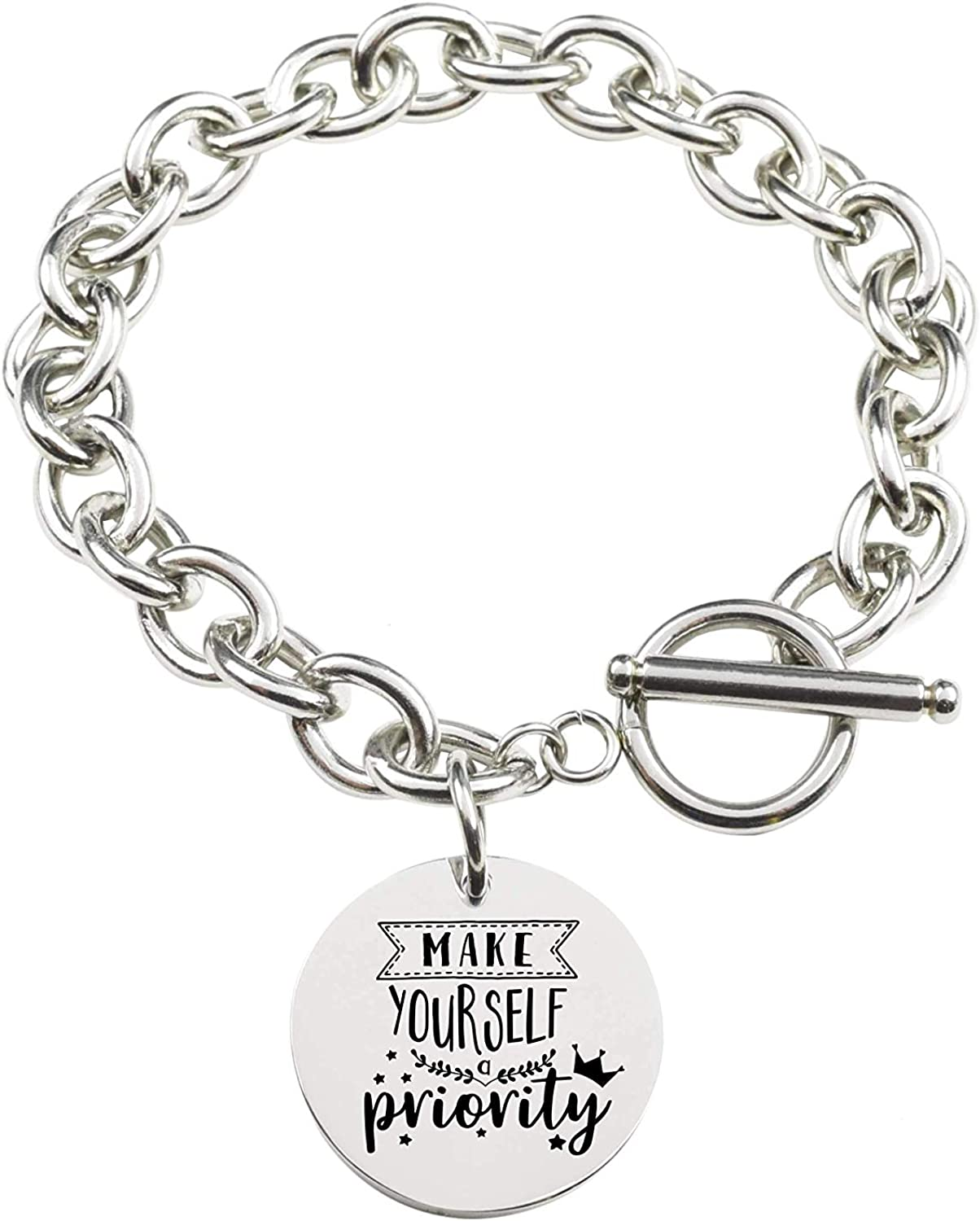 Silver Pink Box Solid Stainless Steel Inspirational Toggle Bracelet Priority