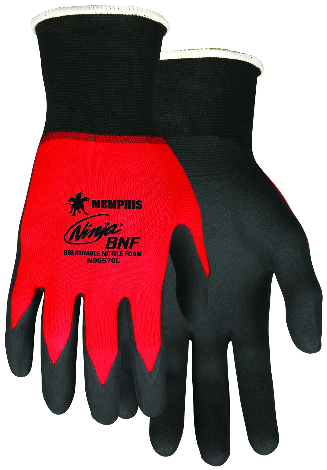 MCR Safety N96970XL Ninja BNF Nitrile Gloves, ANSI Abrasion 4, 18 Gauge Nylon/Spandex Shell with BNF Palm and Fingertip Coating, 1-Pair, X-Large