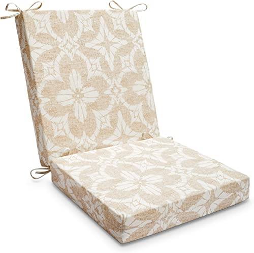 LOVTEX Patio Indoor Outdoor Furniture Cushions Water-Resistant Chaise Lounge Chair Bench Cushions Beige Floral Square Corner Chair Cushion 1 Piece