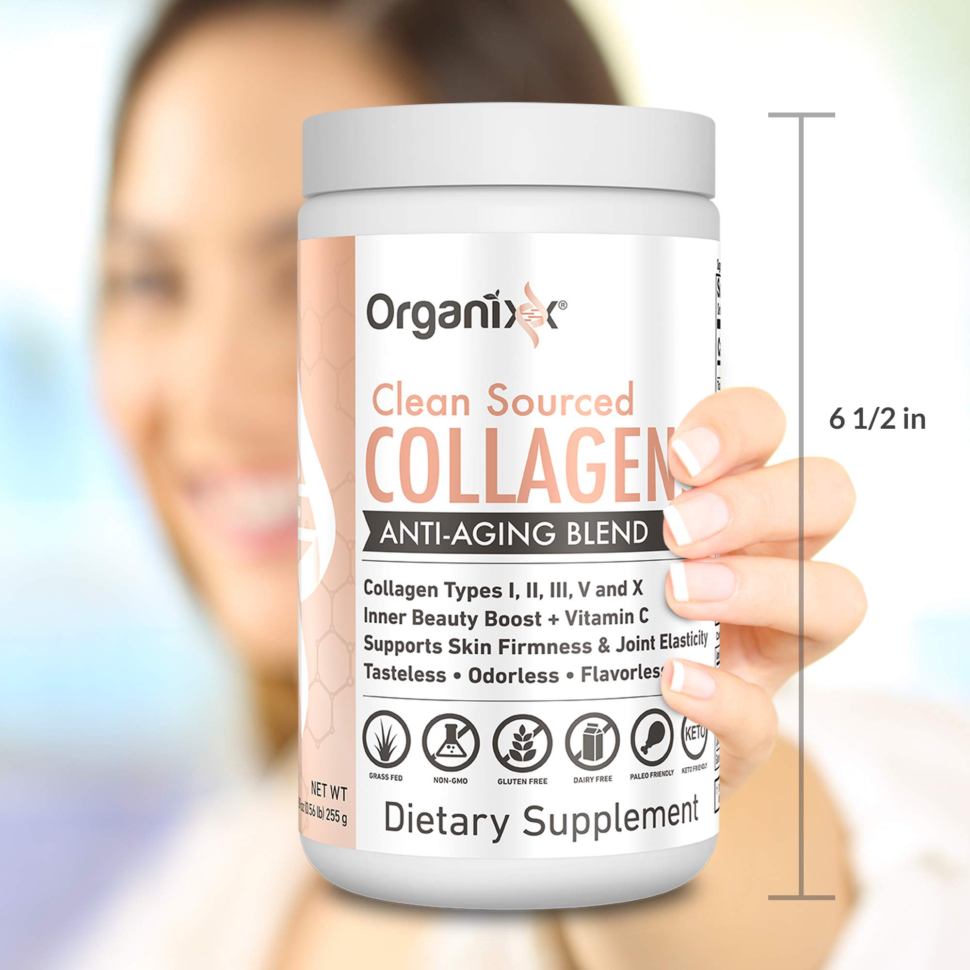 Collagen Powder - 5 types in 1 - Improves Hair, Skin and Nails - 4 Sources Including Marine Collagen and Bone Broth Collagen - Clean Sourced Collagens by Organixx (30 Servings) by ORGANIXX (Image #1)