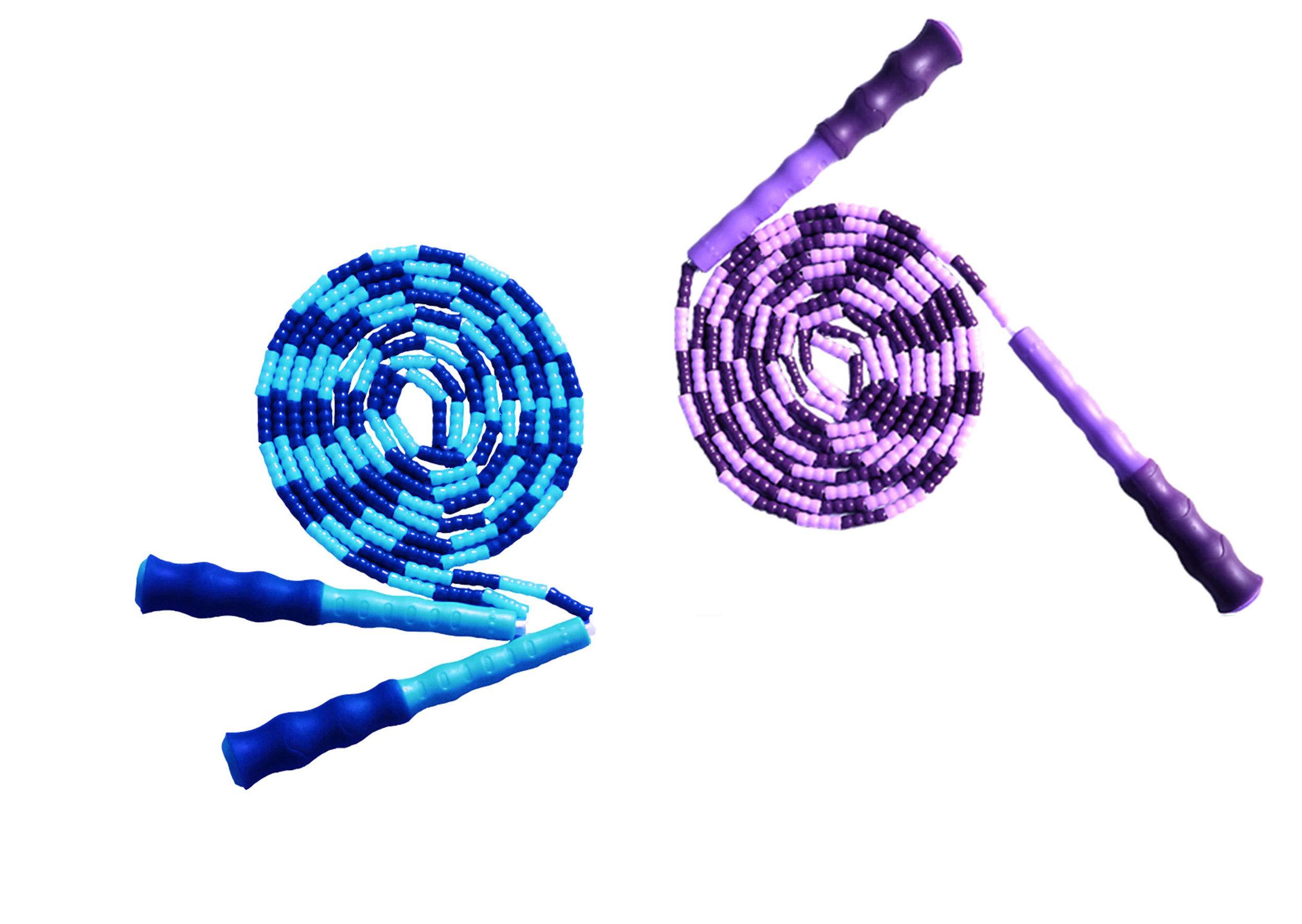 LETUSPORT 9 Feet Adjustable Beaded Segmented Jump Rope for Women Men Kids Lightweight Work Out Speeding Jumping Ropes (Blue+Purple, 2 pcs)