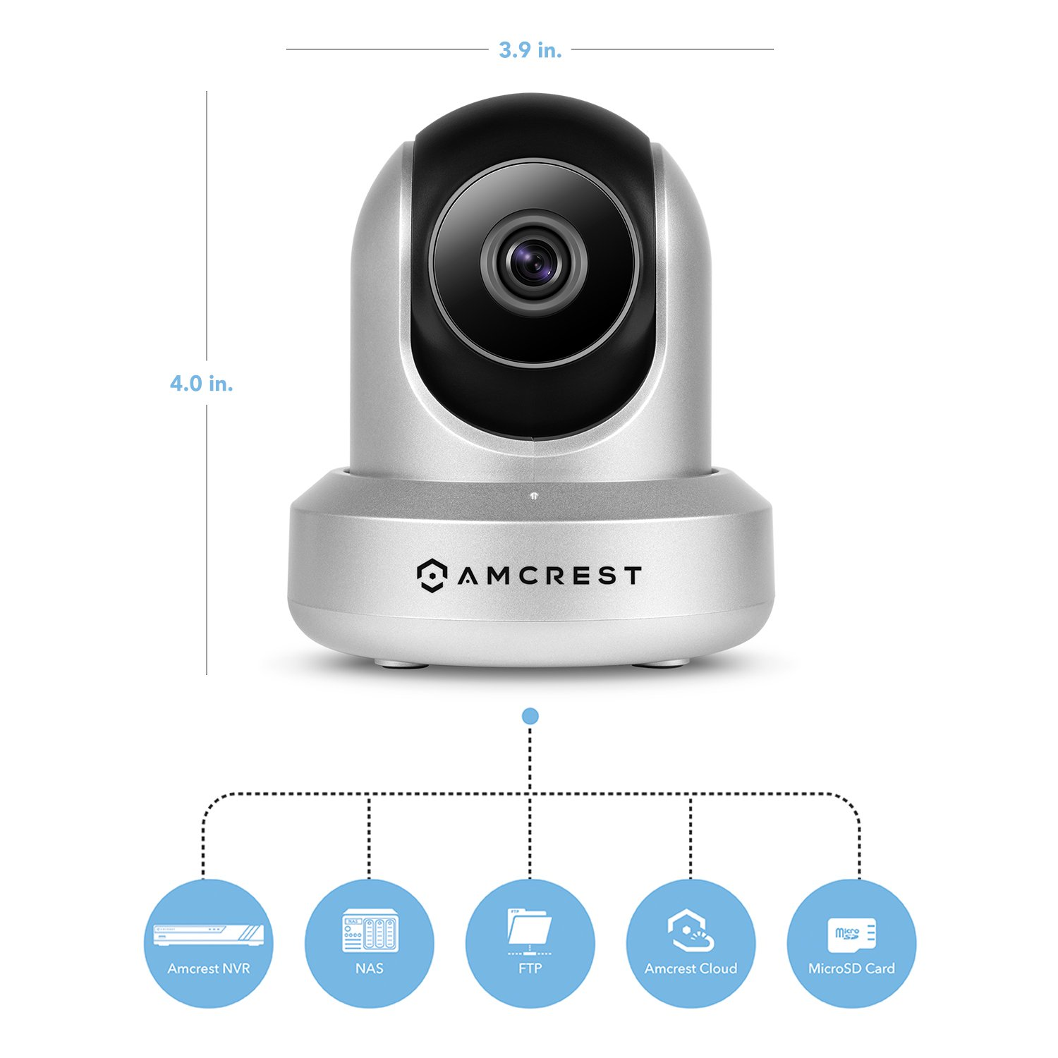 Amcrest HDSeries 720P WiFi Wireless IP Security Surveillance Camera System IPM-721S (Silver), Works with Alexa