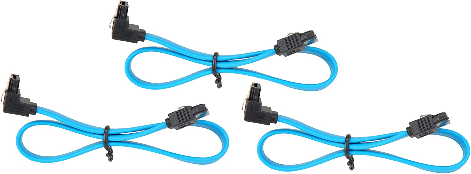 SATA 3 Cable 3-Pack SATA Cable 12 Inches Blue 12 Inches Rosewill 3-Pack SATA Cable 90 Degree Right Angle SATA III 6.0 Gbps