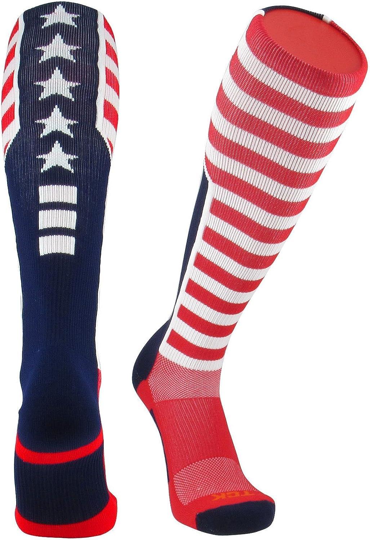 TCK Elite USA Flag Patriot Red White Blue Basketball Football Knee High Socks