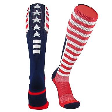 fee682202 TCK Elite USA Flag Patriot Red White Blue Basketball Football Knee High  Socks (Small)