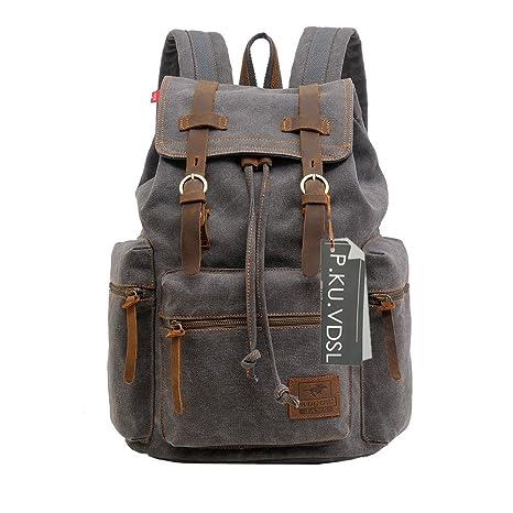 5e2b33326651 VDSL-AUGUR Series Vintage Canvas Leather Backpack Hiking