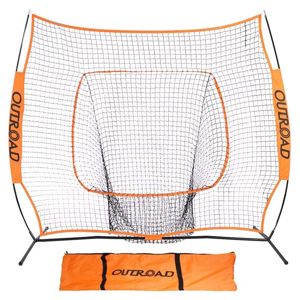 Outroad Baseball Nets Batting and Pitching 7 x 7 - Portable Practice Net Softball net with Bow Frame and Strike Zone Target - Portable and Removable Ball Holder Batting Practice with Carry Bag by OUTROAD OUTDOOR CAMPING GARDEN PATIO