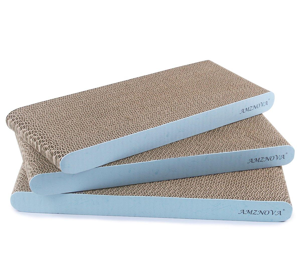 AMZNOVA Cat Scratcher Cardboard Scratching Pads Scratch Sofa Lounge, Narrow, Baby Blue, 3 Pack by AMZNOVA
