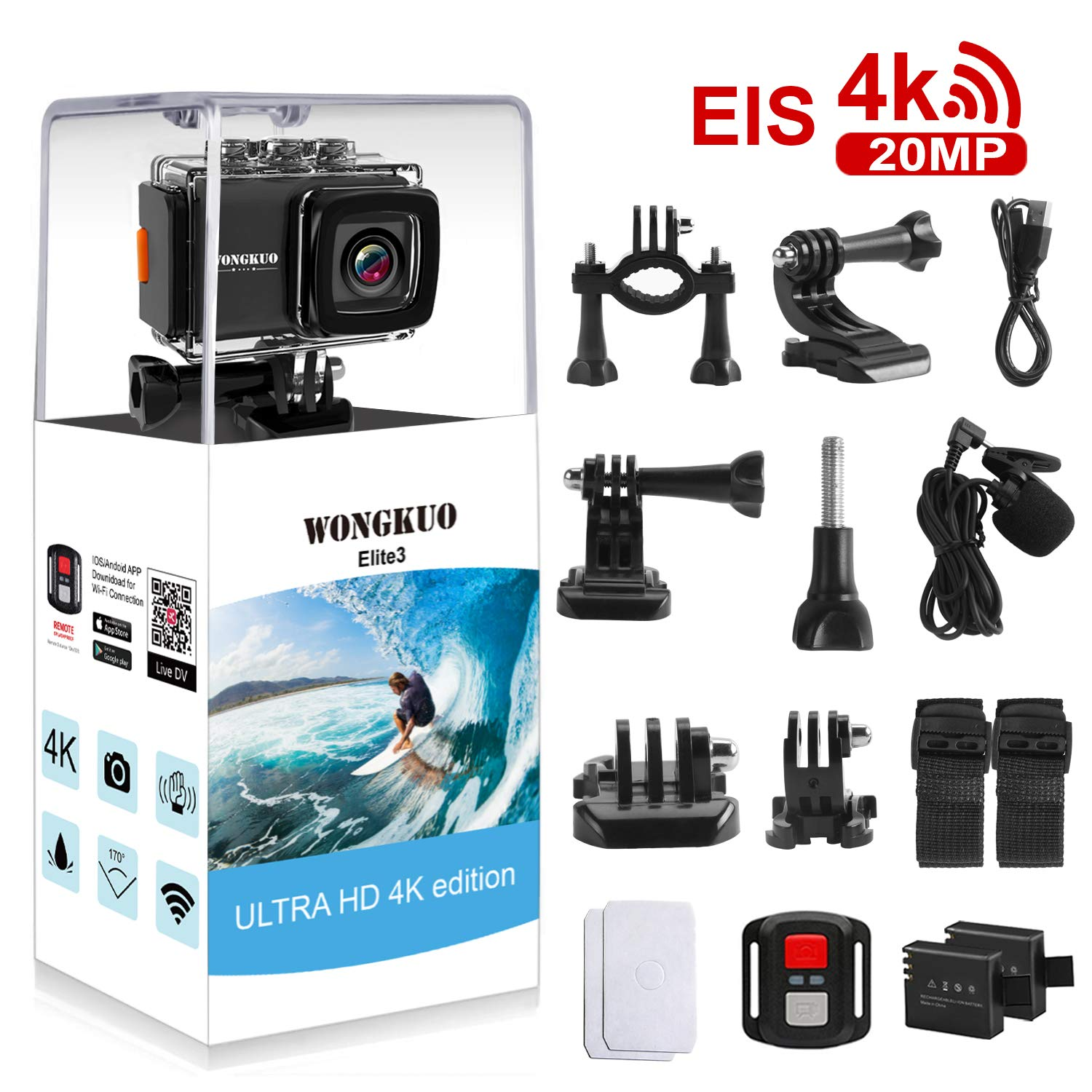 UPGRADED WONGKUO Action Camera 4K 20MP Ultra HD EIS Anti-shake Sport Camera 98ft Waterproof 170°Wide-Angle WiFi Camcorder with External Microphone & Remote Control & Mounting Accessories Kit(Standard) by WONGKUO