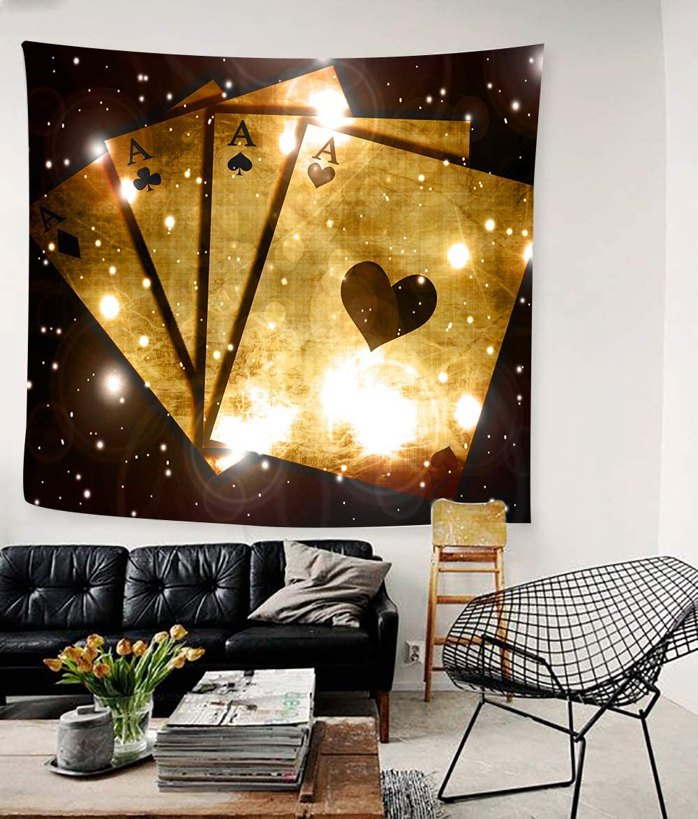 Simsant Tarot Tapestry Magic Card Wall Tapestries Psychedelic Theme Four A Cards Wall Blanket Modern Art Wall Hanging 60x60inches 152.4×152.4CM SIGE090