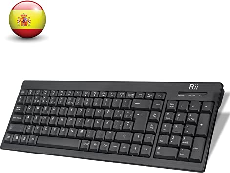 Rii RK901 Wireless Teclado (Layout Español) Teclado inalámbrico para Windows, Android, Chrome y Smart TV, QWERTY Español, Color Negro (ES-RK901): Amazon.es: Electrónica