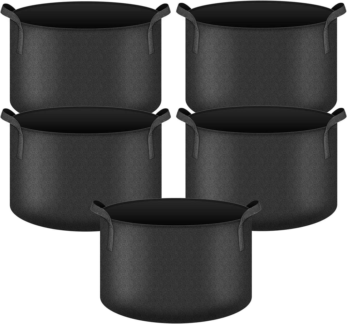 iPower 5-Pack 20 Gallon Plant Grow Bags Heavy Duty Thickened Nonwoven Aeration Fabric Pots Durable Container, with Strap Handles for Garden, Black