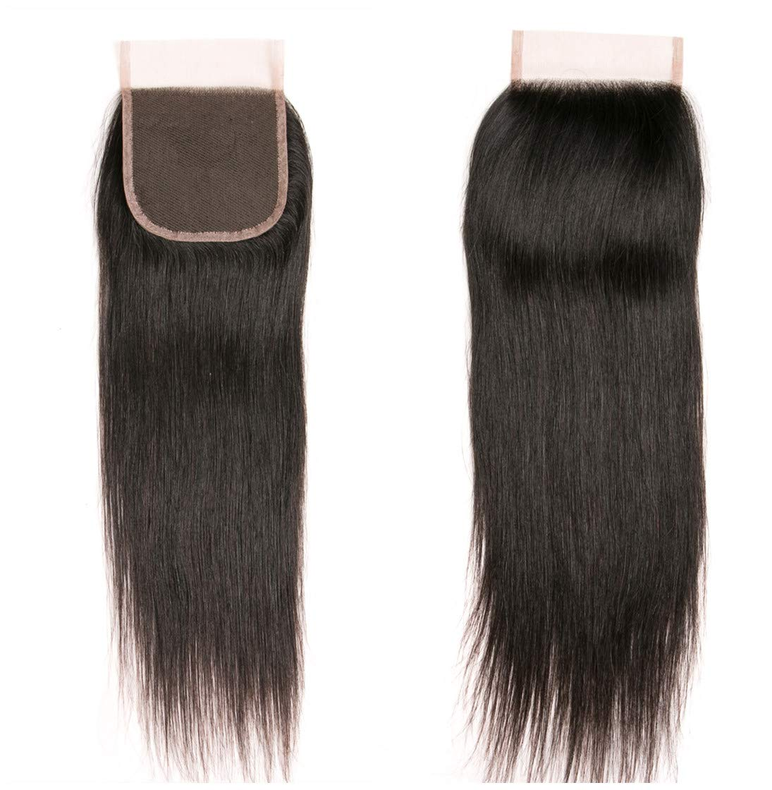 Brazilian Straight Hair With Closure 3 Bundles Unprocessed Virgin Human Hair Bundles With Lace Closure Free Part Hair Extensions Natural Color(12 14 16+10) by RUIMEISI (Image #6)