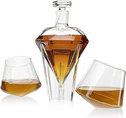 ZRXRY Jarra de Whisky, Diamante Copa de Vino Base de sujeción ...