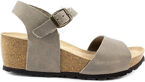 Damen Sandalen aus schwarzem Sprint Leder, gepolsterte Sohle mit 5,5 cm Absatz Komfortabler Keil für die Saison 2019 Zahlen von 36 bis 41