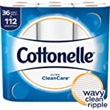 Cottonelle Ultra CleanCare Toilet Paper, Strong Bath Tissue, 36 Family Rolls