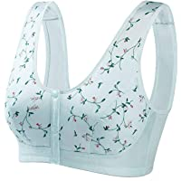 Convenient Front Button Bra Women's Wireless Cotton Underwear Super Thin Embroidered