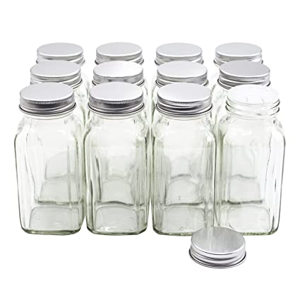 amazon com u pack 12 pieces of french square glass spice bottles 6