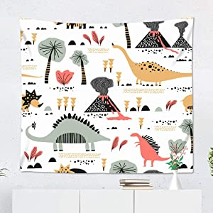 Janyho Tapestry Funny Childish Dinosaurs in Cartoon Ideal for Kindergarten Preschool Wall Hanging Bedroom Living Room Home Picnic Beach Towel Print Polyester 60x80 Inches