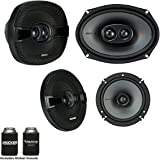 Kicker Speaker Bundle - A Pair of Kicker 6.5 Inch & a Pair of 6x9 KS-Series Speakers, KSC6504 & KSC69304