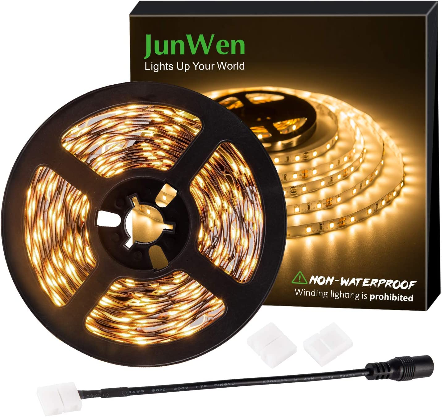 JUNWEN Flexible LED Strip Lights, Warm White,16.4ft 300LEDS 2835 LED Ribbon, String Light, 12V Tape Lights, Non Waterproof, Under Cabinet Children's Rooms Hallway Staircase Corridor Collectable