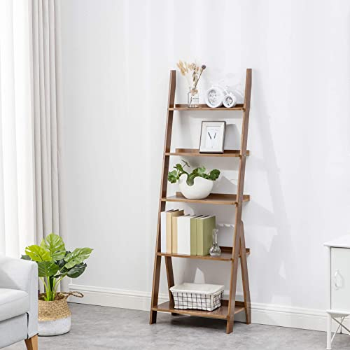 K KELBEL Ladder Shelves Book Shelf Plant Flower Stand Storage Rack Multipurpose Bamboo Organizer Shelves Furniture Home Office,for Living Room, Kitchen, Office 5 Tier Brown