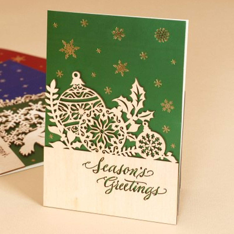 Amazon.com: JEWH Glitter Business Christmas Cards Wood Flourishes ...