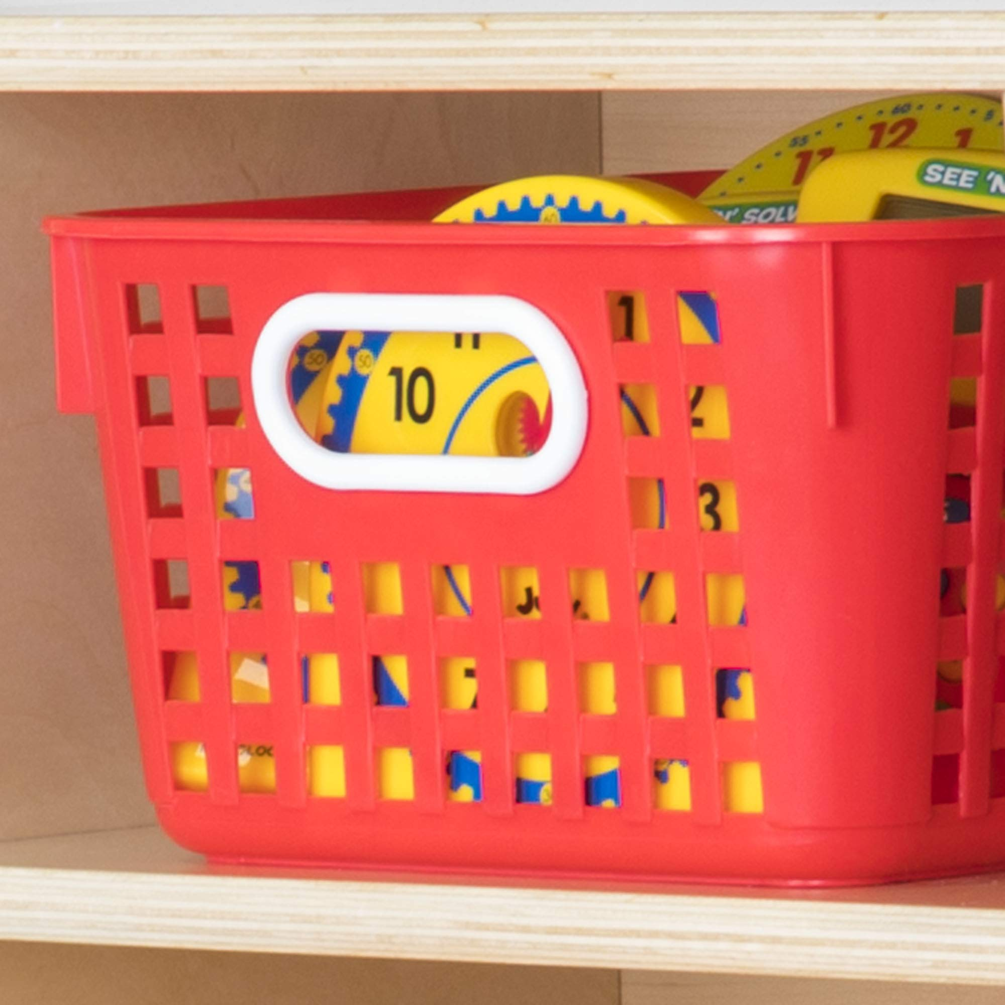 Really Good Stuff Multi-Purpose Plastic Storage Baskets for Classroom or Home Use - Stackable Mesh Plastic Baskets with Grip Handles 13'' x 10'' (Single-Color Set of 12) by Really Good Stuff