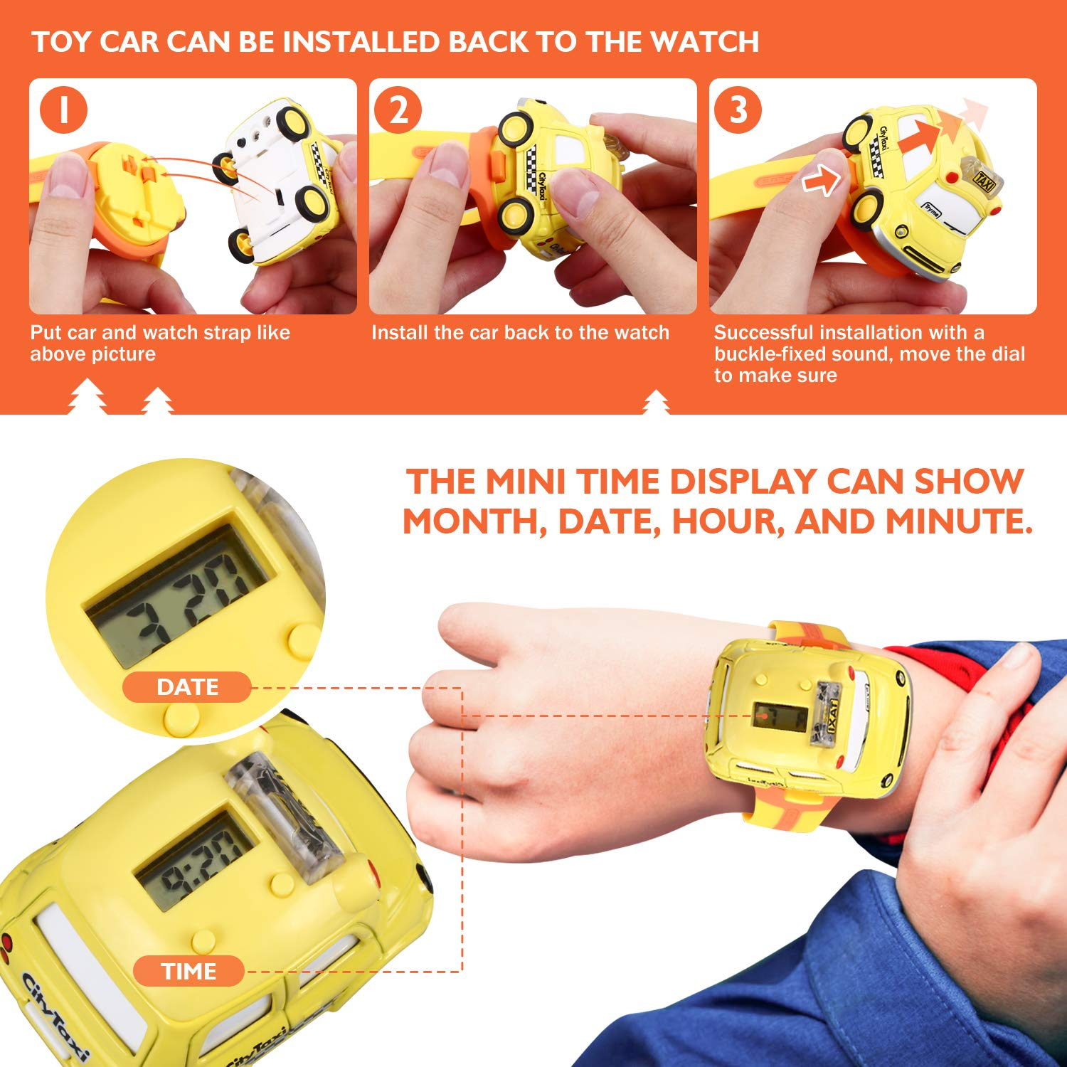 Peradix Kids Car Watch Toys, Multi-Function Watch and LED Lighting and Sound Effects Car 2 in 1 for Boys Girls Children Xmas Gift(Yellow)