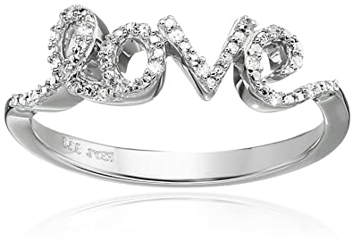 Amazon Com Sterling Silver And Diamond Accent Love Ring Jewelry