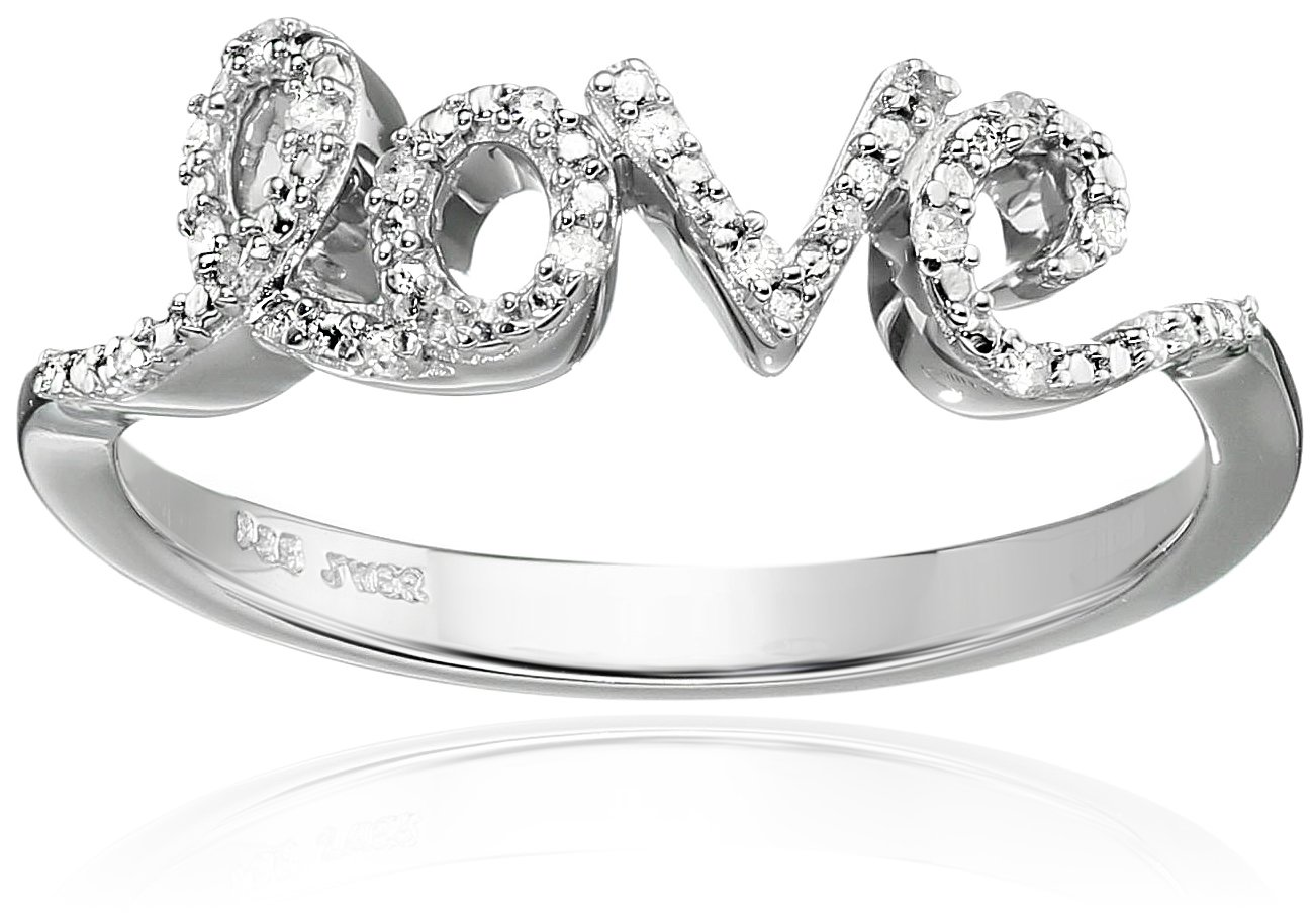 Sterling Silver Diamond Accent Love Ring, Size 7