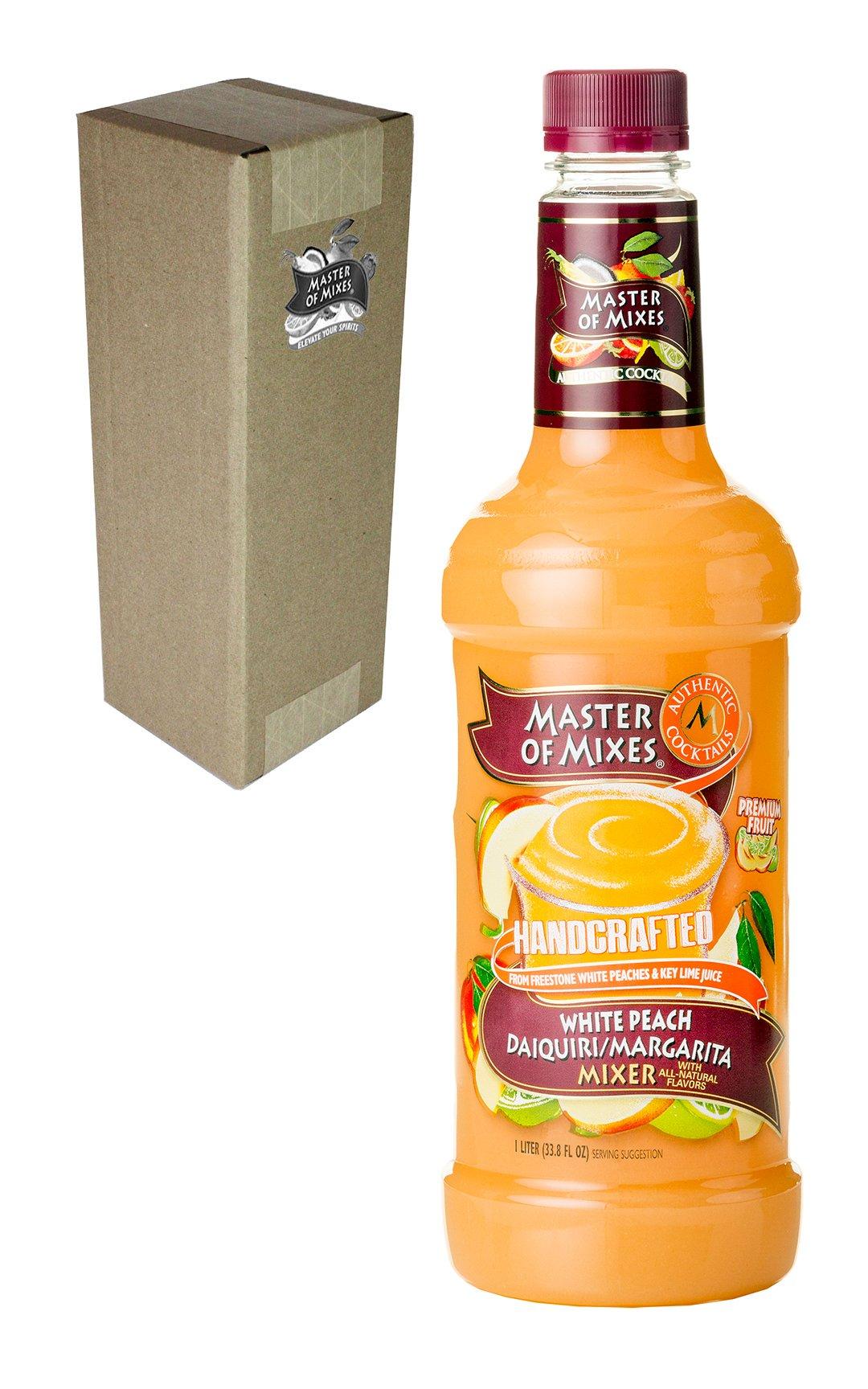Master of Mixes White Peach Daiquiri/Margarita Drink Mix, Ready To Use, 1 Liter Bottle (33.8 Fl Oz), Individually Boxed