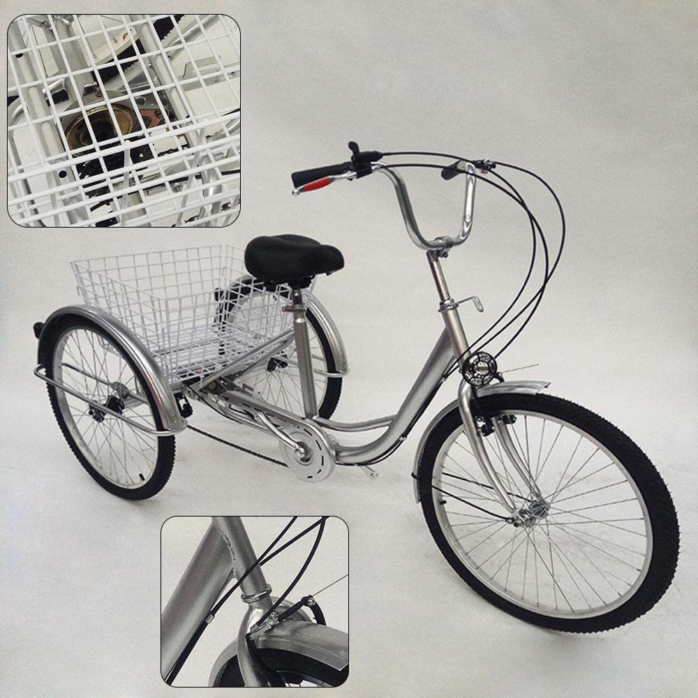 Panier /à v/élo Trike Tricycle p/édale v/élo pour Faire du Shopping en Plein air de Pique-Nique Sports OU BEST CHOOSE 24 3 Roues Adulte Tricycle avec Lampe 6 Vitesses v/élo