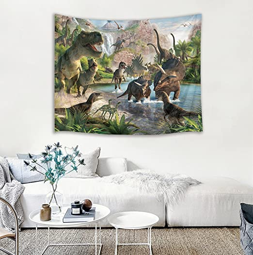 GuDoQi Dinosaur Tapestry Wall Hanging Dorm Decor Polyester For Bedroom Beach...