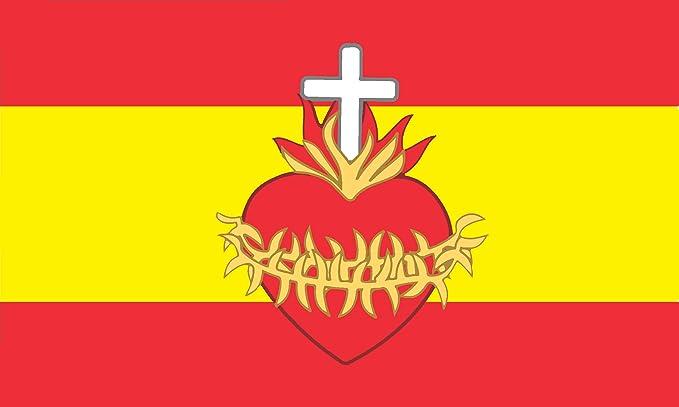 Durabol Bandera de España con el Sagrado Corazón 150X90 CM Flag Satin: Amazon.es: Jardín