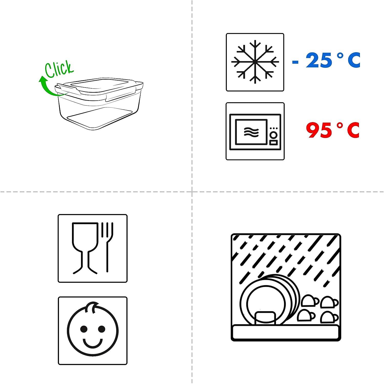 dise/ño Cuadrado Color Rojo Juego de recipientes herm/éticos con Tapa Grizzly 100/% herm/éticos y Resistentes al Agua