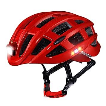 Casco de bicicleta con faros - 20 ° ajustable Diseño de iluminación USB de carga Casco