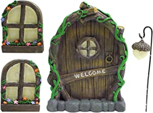 Miniature Fairy Gnome Home Window and Door with Lamp for Trees Decoration, Glow in Dark Fairies Sleeping Door and Windows, Yard Art Garden Sculpture, Tree Statues Lawn Ornament Decor