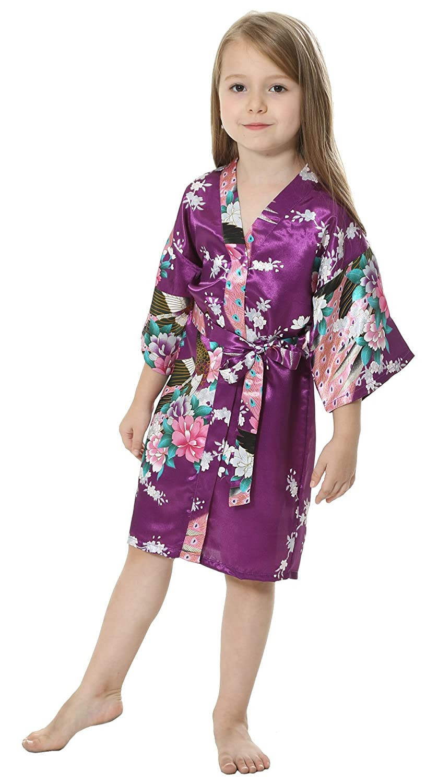 JOYTTON Girls Satin Kimono Robe for Spa Party Wedding Birthday