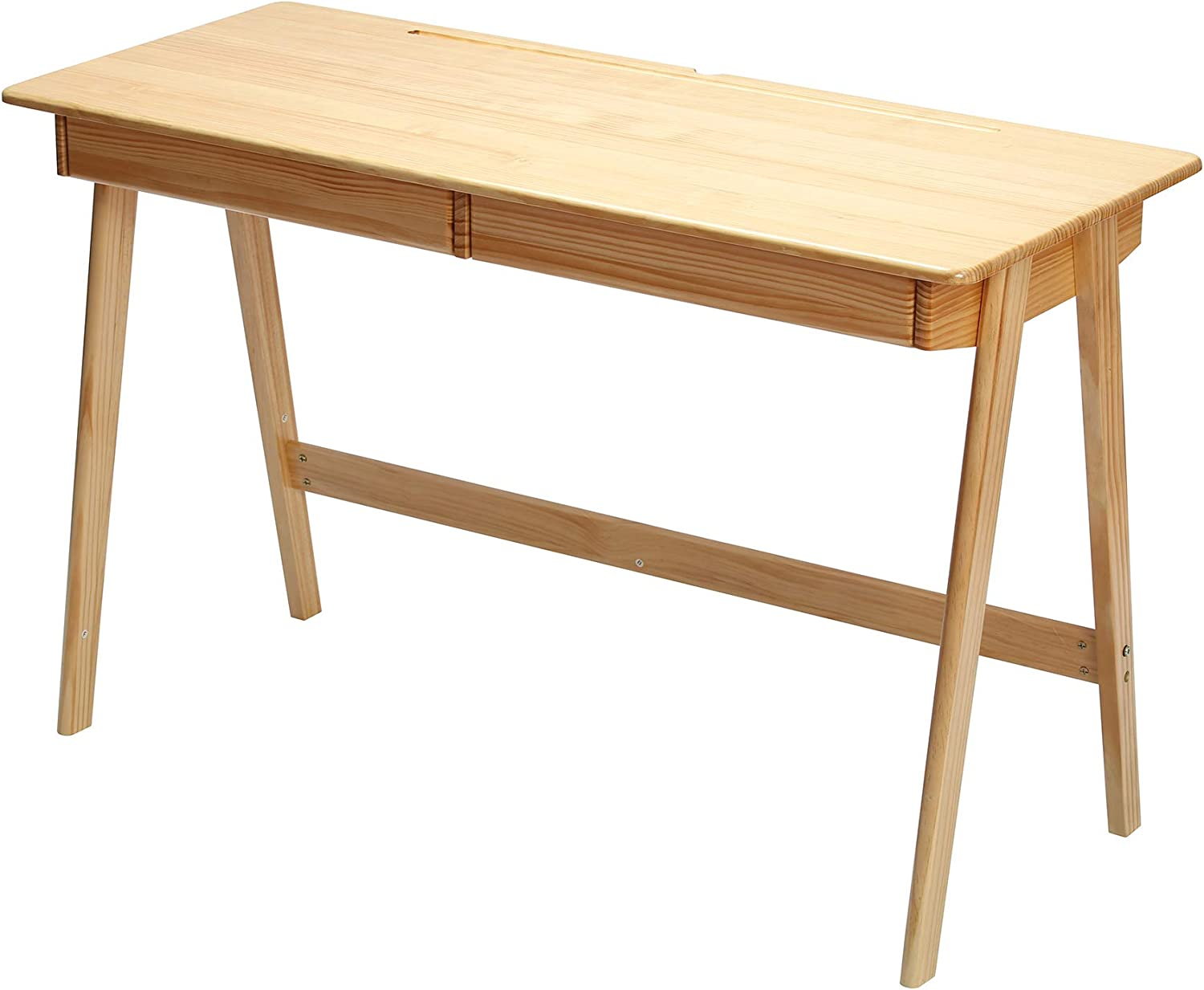 Function Home Computer Desk with Drawers, Solid Wood Office Writing Desk, Modern Study Table with Spacious Desktop, Writing Desk for Bedroom Home Office,Natural