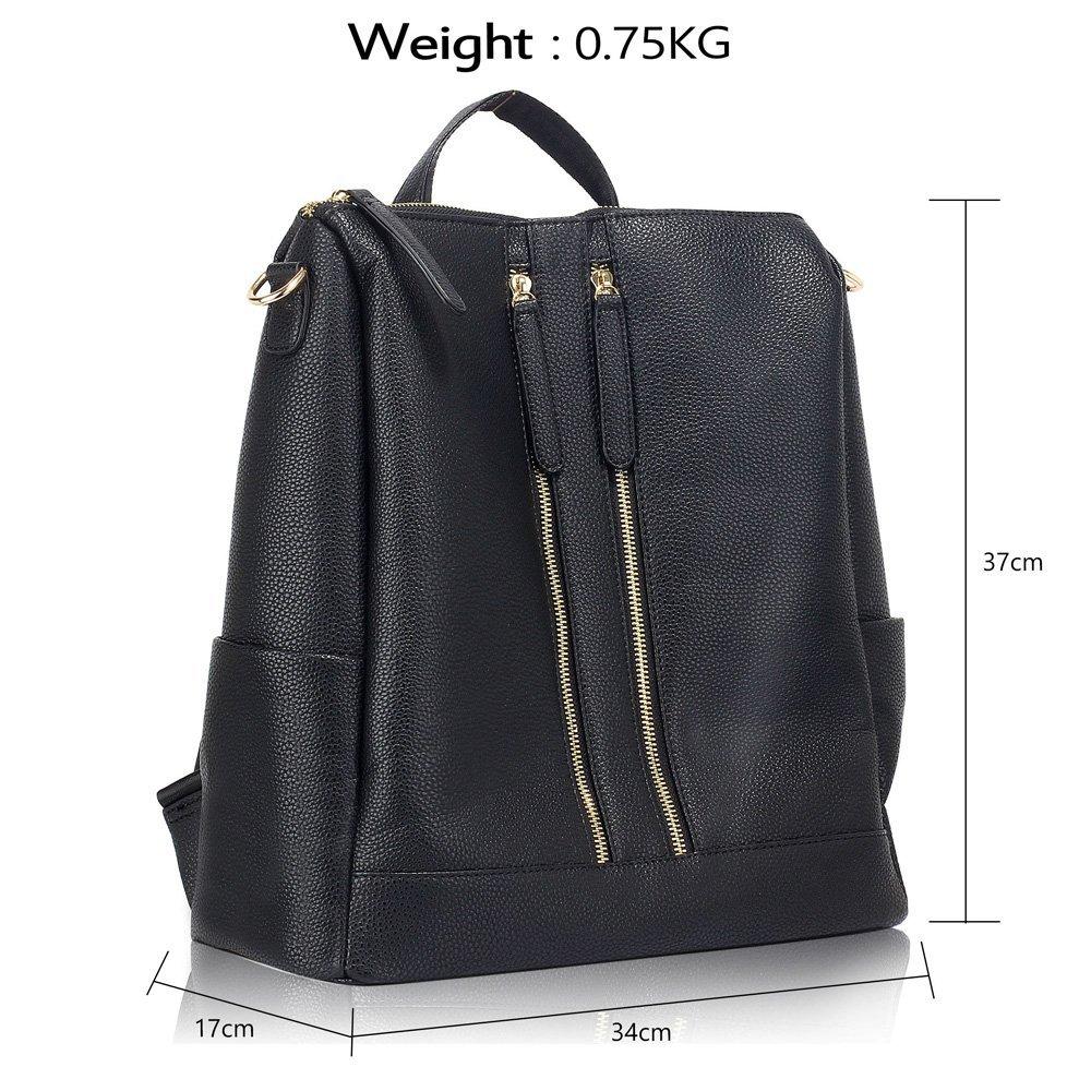 3fb69b96e27 Anna Grace Ladies Backpack Rucksack Stylish Faux Leather School College Bag  - AG00523 (Black)  Amazon.co.uk  Luggage