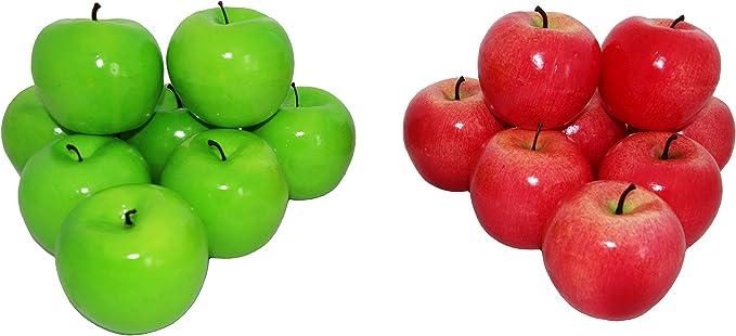 rukauf - 16 Manzanas Decorativas de Color Rojo + Verde, Frutas Artificiales, Frutas Artificiales, Verduras, Frutas, decoración: Amazon.es: Hogar