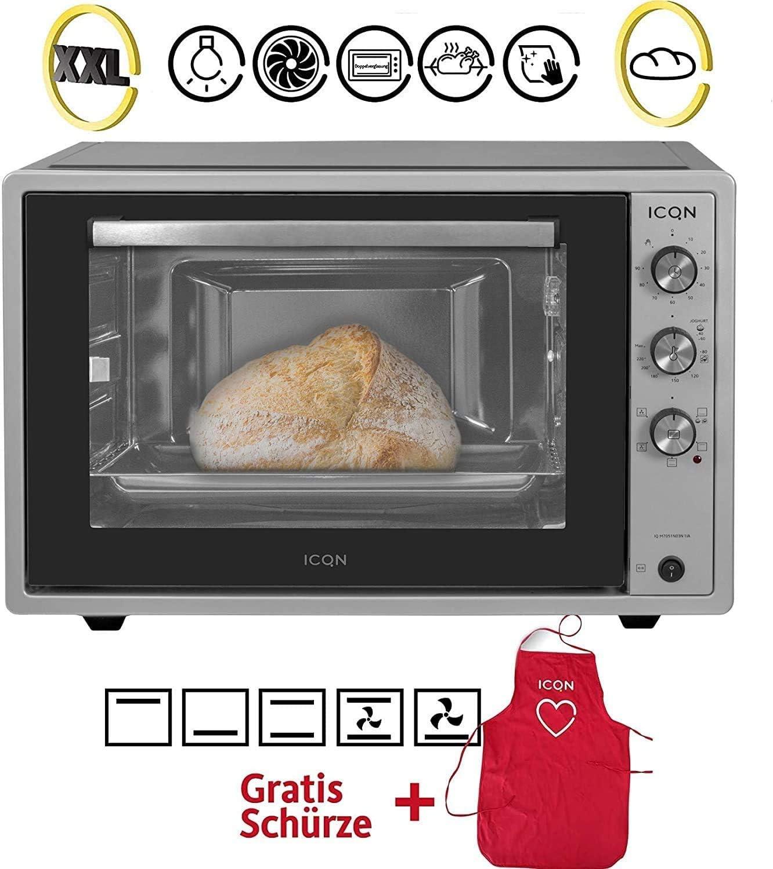 ICQN Horno de Pizza 70XXL | 1800W con luz interior y convección | Puerta Doble Cristal | Reloj Temporizador | Interior Esmaltado | Inox gris