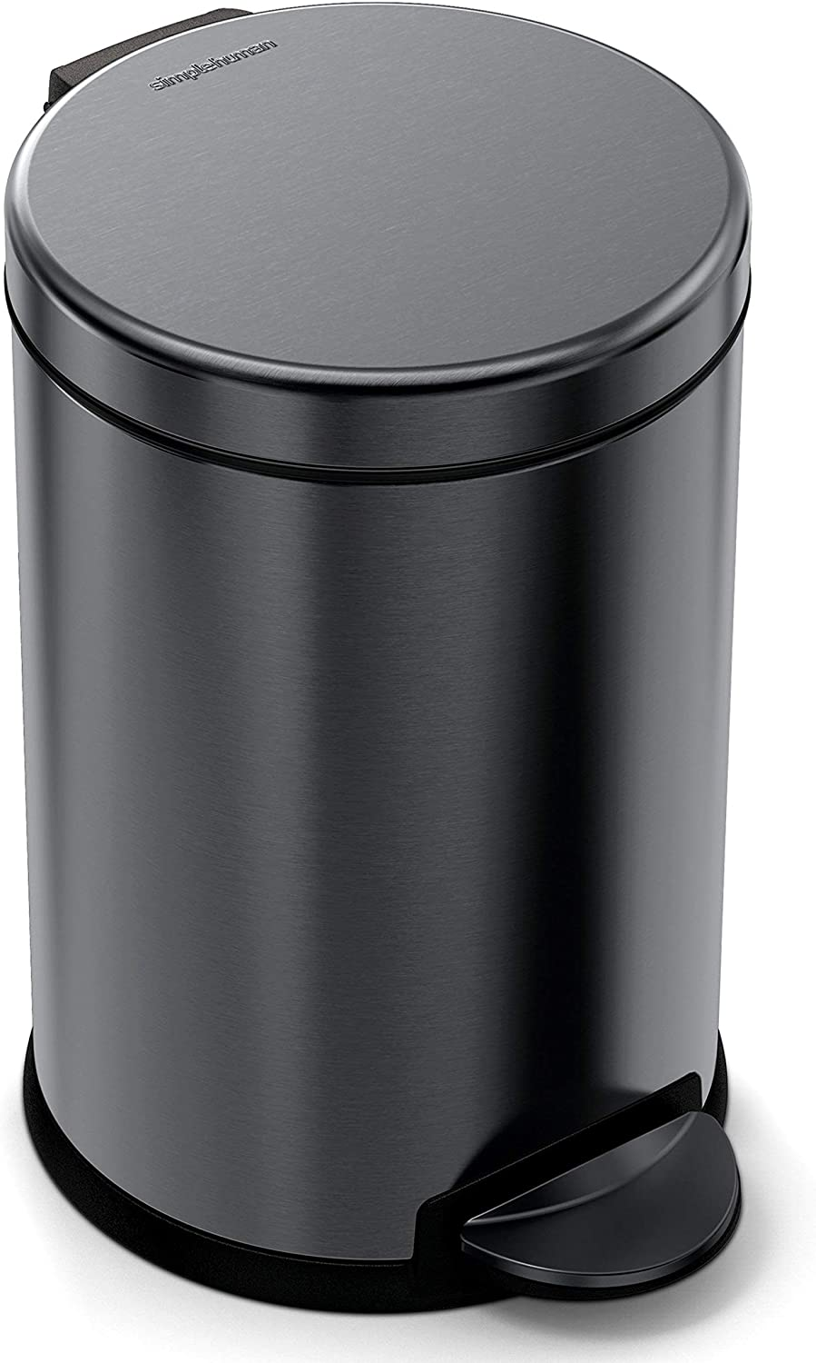 simplehuman 4.5 Liter / 1.2 Gallon Compact Stainless Steel Round Bathroom Trash Can, Black Stainless Steel