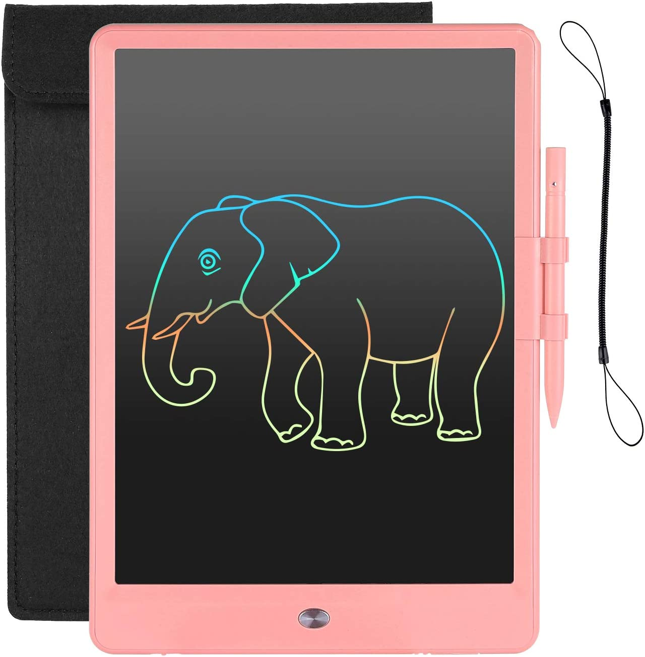 LCD Writing Tablet 10inch Colorful Doodle & Scribbler Boards, Lightly Learning Toys Drawing Pads with Bag and Lanyard Stylus for Kids Age 2+(Pink)…