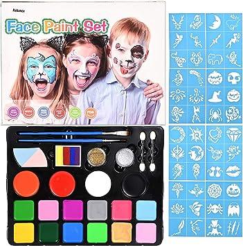 Nabance Pinturas de Cara para Niños Set Pintura Facial Pintura Corporal con 16 Colores Maquillaje para Cuerpo Professionale con 58 Plantillas de Pintura para Halloween: Amazon.es: Juguetes y juegos